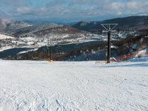 ロイヤルヒルスキー場です。白樺湖につっこみそうなゲレンデは雪質も眺めも最高です!!