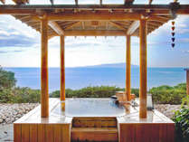 庭園露天風呂付き客室、檜タイプの「伽羅」(一例)大人カップル、ファミリーなどどんなグループにも好評