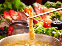 【天婦羅自慢】5種類のお好みの塩 又は 天つゆでお楽しみいただく揚げたて天婦羅の食べ尽くしも好評です。
