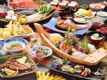 【2017秋・お祝い懐石/一例】地金目鯛と伊勢海老の鬼殻焼き。お祝いの宿ならではの贅を尽くした一品です。