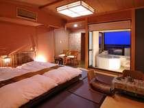 【海望むオリエンタル半露天風呂付き客室】カップル・ご夫婦専用のベッドタイプ和室