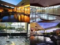 月の湯と花の湯 朝夕入替制でそれぞれのサウナ付大浴場と天望露天風呂が楽しめます。