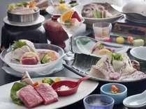 瀬戸内鯛料理と伊予牛1品付お料理イメージ