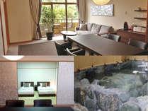 リニューアルオープンして1周年!露天風呂付客室「花スイート」ギルディング和紙が施されています。