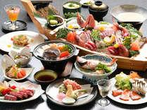 旬魚がテーブルいっぱいに集う春の海鮮会席