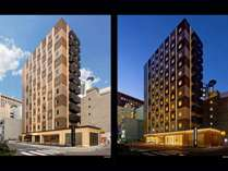 フォト:外観を昼・夜に撮影。客室は西側と南側に配置したL字型の建物です。
