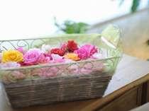 朝摘みのバラで想い出に残るバスタイムを・・・(お部屋でのバラ風呂はオプション販売です。)