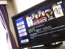 すべてのお部屋で32インチ以上のTVを設置しています。時間を気にせずお好きな映像をお楽しみください。