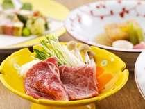 【火の物/献立例】旨味の強い国産牛を、季節野菜と共に味わうしゃぶしゃぶ
