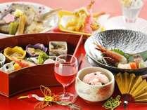 【和食会席/福寿の膳】鯛の兜煮や赤飯など、お祝いの席に花を添える会席膳