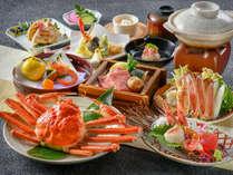 【旬味万菜蟹特選会席】ずわい蟹丸ごと一杯のほかに蟹刺しと蟹鍋、そして、和牛と野菜のせいろ蒸しを♪】