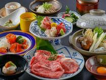 【特選和牛すき焼き会席】もも肉とロース肉を合わせてお一人様150gをご用意!すき焼きで食べ比べてみて♪