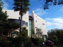 城ケ崎の自然林を見下ろす高台に立つ