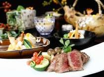【味匠懐石】 和牛ステーキ付の、グレードアップ懐石料理です。