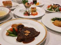 *【夕食一例】姉妹館「ホテル&レストラン KIZAN倶楽部」にて豊後牛ステーキをご用意!