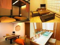 【別館かえで】左上から「寝室」「リビング」「お部屋食のお部屋」「パウダールーム」