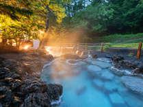 幻想的に輝く庭園岩風呂。混浴なのでお連れ様ご一緒にお楽しみいただけます