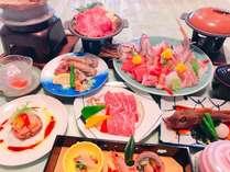 茨城県が誇る極上の霜降りひたち牛すき焼きと・陶板焼きと近海磯料理