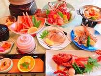 「海鮮陶板焼き、きんき煮魚、カニ料理、はまぐり焼きと近海地魚料理」おまかせグレードアッププラン