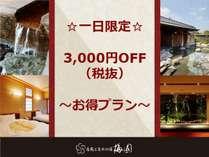 ☆一日限定プラン☆最大3,300円OFF♪ ご宿泊をお得に!