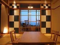 一室のみ【足湯付きモダン和室】桜島を眺めながら足湯をお楽しみいただけます。