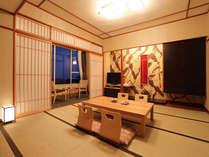 【デザイナーズ和室】高階層のお部屋なら、窓からの絶景&快晴時には桜島も望める人気のお部屋です。