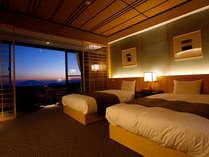 【最上階デラックスツイン】最上階だからで眺望最高!天気が良ければ桜島と錦江湾の絶景を一望いただけます