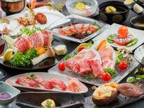 ~肉づくし会席~黒毛牛・黒豚の豆乳鍋、黒毛牛の陶板焼き、牛炙り寿司、お肉好きにはたまらない♪