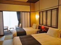 ≪新OPEN≫の北館和ツインは、癒しの和空間でありながら、寝るときはベッドと新タイプのお部屋