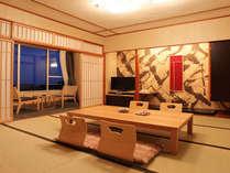 【デザイナーズ和室一例】高階層のお部屋なら、窓からの絶景&快晴時には桜島も望める人気のお部屋です。