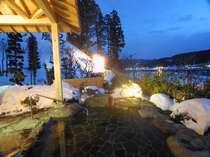 【貸切露天風呂・冬】12月半ばを過ぎると鳴子も雪景色に。