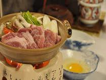 柔らかな地場産豚「天神ノ杜ポーク」を使ったすき焼きをどうぞ(例)