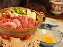 【夕食】こだわりの飼料で育てる地場大崎産の「天神ノ杜ポーク」はすき焼きで(例)