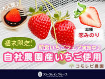 自社農園産の甘くて新鮮ないちごを使用した朝食いちごフェア♪♪週末限定で好評開催中☆