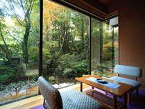 温泉浴と中庭に面したお部屋での森林浴で心の洗浄