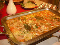 赤城地鳥の源泉トマト煮込み。飲んでも胃腸によろしい四万の源泉入りヘルシー料理です。