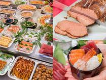 ロングセラーのローストビーフ、自分で作る海鮮丼、手巻き寿司、60種の創作源泉バイキング