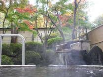 秋、岩船の湯湯口7つの源泉からすべて源泉かけ流し天然温泉24時間ご入浴ください