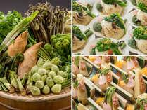 【2017年春の山菜バイキング】定番のローストビーフ・海鮮丼をはじめ山菜の揚げ立て天ぷら等山菜