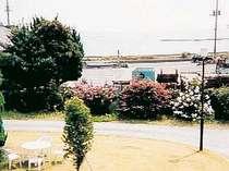 お部屋からの景色です。中庭の向こうに海が...