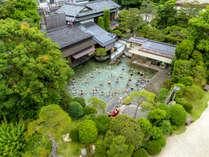 【混浴大露天風呂】日本庭園の中にあるお風呂♪長楽園の露天風呂はこんなに広いんです!