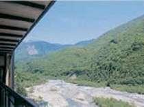 北アルプスの雪解け水を運ぶ、蒲田川の渓流沿いのお部屋からの眺め【西の寮】