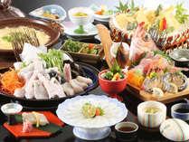 ◆舟盛付とらふぐ会席◆とらふぐ、鮑、旬菜など、春を彩る豪華料理をどうぞ[一例],京都府,夕日ヶ浦温泉 夕日浪漫 一望館