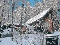 林の中のログハウス。雪景色もたのしみ