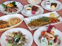 シェアーしてお召し上がりをいただくいい夫婦プランの料理、お魚等は季節により変わります