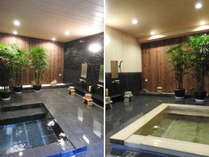 御影石(左)・檜(右)風呂は、竹林特別室専用風呂です。