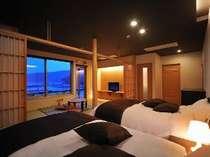 上々福 緑(りょく)ツイン(120cm)セミダブルベット+7.5畳の和洋室