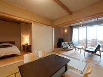 『明神の部屋』87平米。和室10帖+リビングルーーム+ベッドルーム+半露天ひのき風呂+テラス