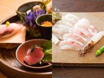 夕食例「里と海の膳菜」「刺身」