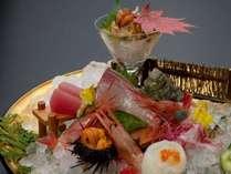 【選べる一品シリーズ】~豪華刺身皿盛り付~ スタンダード会席に日本海海の幸皿盛り付